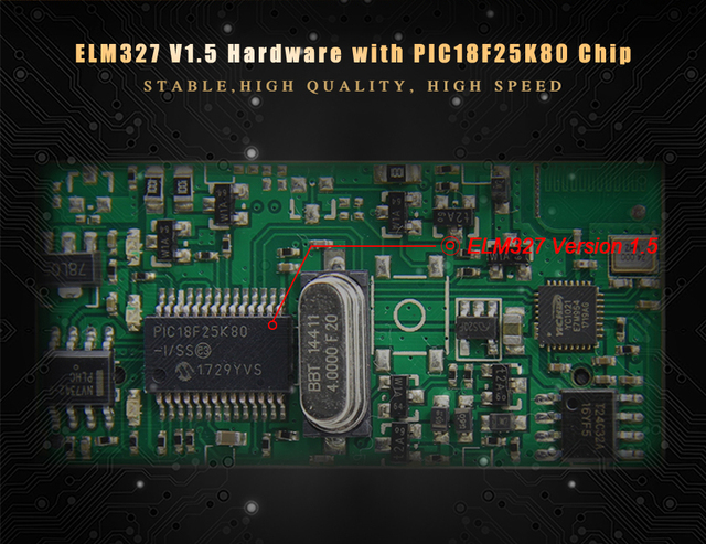 ELM327 V1.5 Bluetooth With PIC18F25K80 Chip OBD2 OBD II Diagnostic Scanner elm 327 bluetooth V1.5 obd2 Scanner by Carton Box