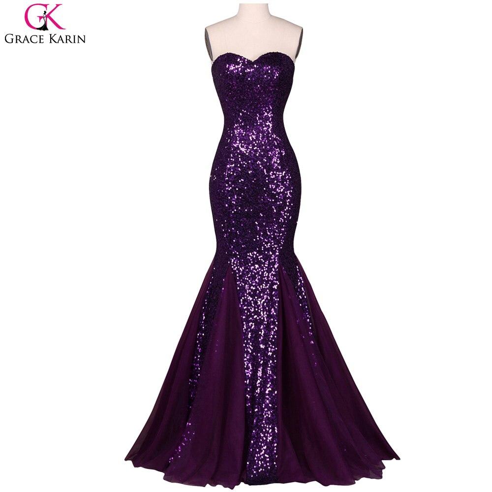 Evening Dresses Grace Karin Purple Dresses Sweetheart Sequin Tulle ...