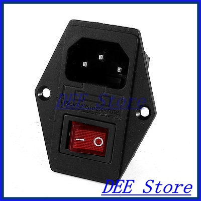 цена на IEC320 C14 Inlet Power Socket Fuse Holder KCD1-104N Rocker Switch DPST 250V 10A
