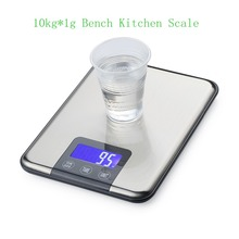 10kg 1g Slim Stainless Steel Digital Scale 10KG Electronic Diet Food Kitchen Scales Touch Grams Weight Balance Blue Backlight
