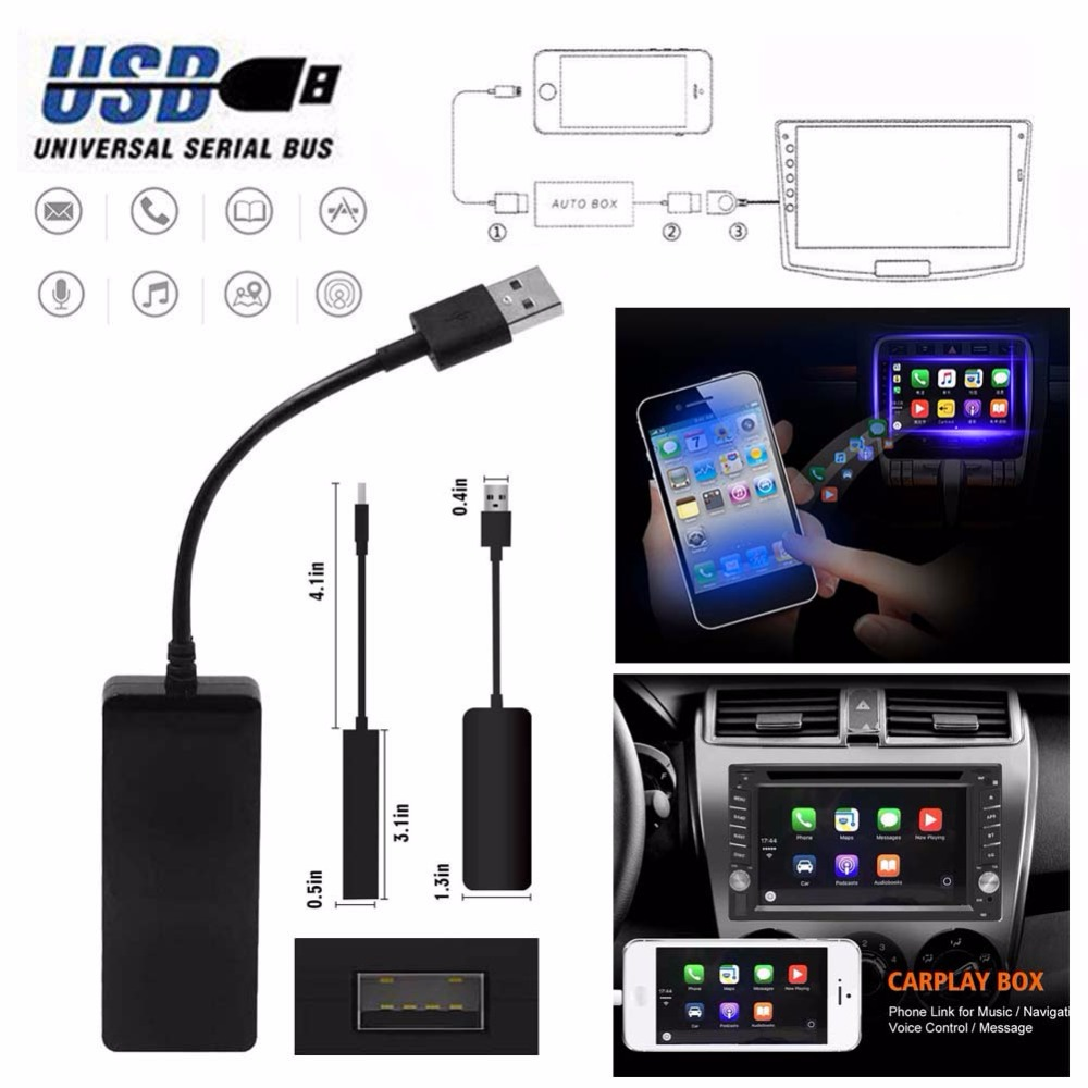 12V Smart Link USB Dongle for Apple iOS CarPlay Android Car Navigation Player Car Screen Touch Screen Head Unit Black