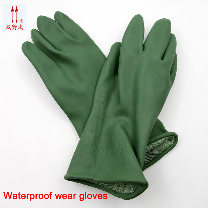 New latex guantes green 30 cm gas chemical defense guantes trabajo elastic good tensile arbeitshandschuhe