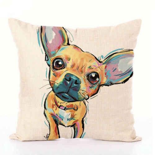 لطيف الكرتون الكلب الثعلب القط 45*45 سنتيمتر غطاء الوسادة الكتان رمي وسادة سيارة المنزل الديكور الزخرفية المخدة