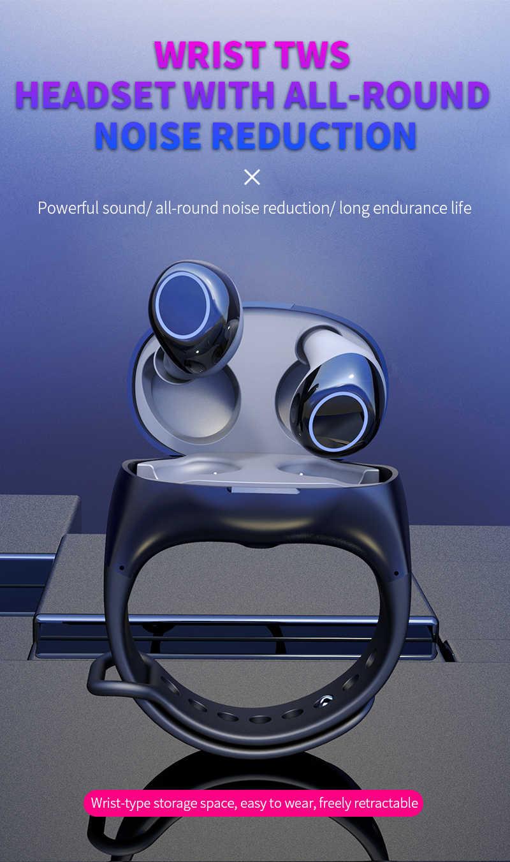 HM50 TWS Auricolari Auricolari Stereo Bluetooth 5.0 Auricolare Senza Fili di Bluetooth Portatile Intelligente Wristband Auricolare Senza Fili