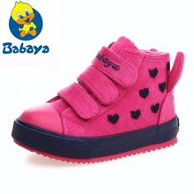 Winter Rubber Girls Boots New 4 Colors Fashion Warm Children Shoes Flock Leather Plush Platform Flat Sneakers Kids