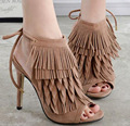 Tassel Women Sandals Thin heel Summer shoes Woman Open toe high heels Gladiator Sandals Women black heels dress shoes