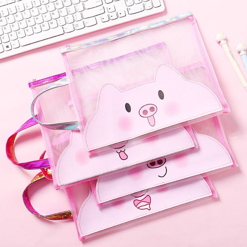 A4 30.5x24cm Cute Pig Document Bag Zipper File Folder Holder Portable Test Paper Pencil Case Student Stationery Creative Gift