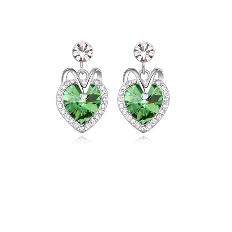 2015 HOT Sale Siver Zinc Alloy Trendy Women Blue Crystal Ocean Heart Stud Earring Titanic Heart of Ocean Womans Stud Earrings 2