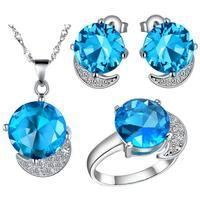 Groothandel Vrouwen Bruiloft 3 Kleuren Zirkoon Ketting/Ring/Oorbellen Wit Goud Charme en Fascinerende Sieraden Sets T216-8 #