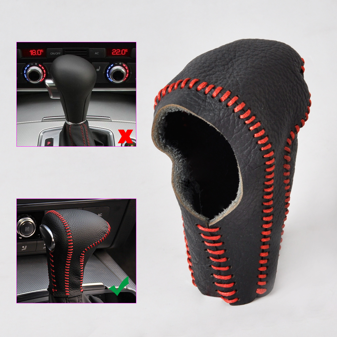 CITALL Car Styling Black Leather Red Thread Genuine Gear Shift Knob Cover for font b Audi
