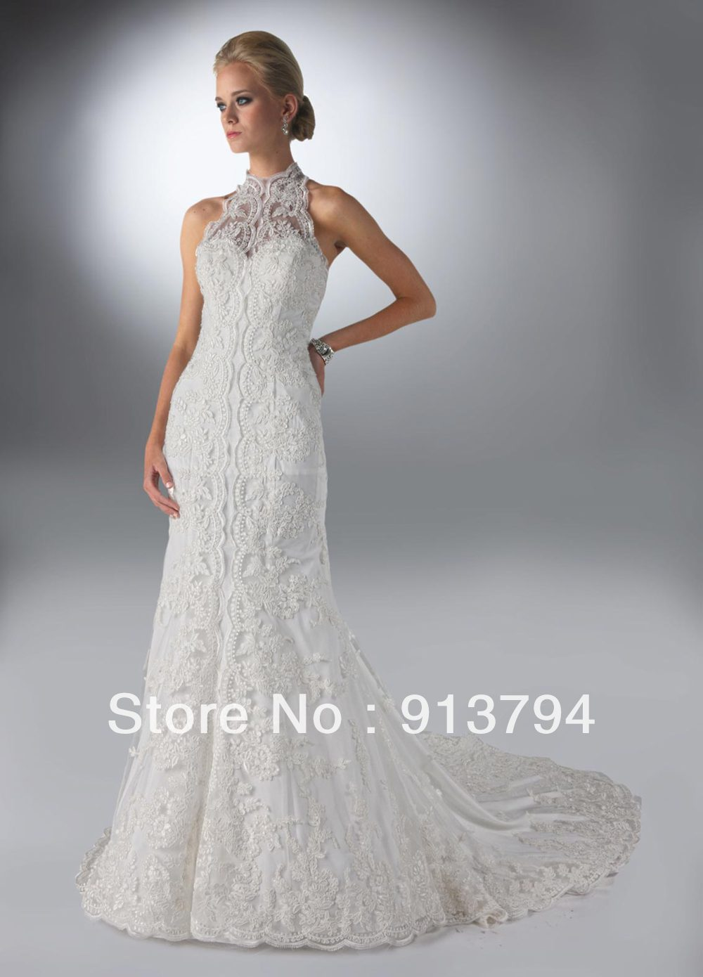Halter Lace Elegant Mermaid Wedding Dress Db50085 White Bridal Dressin Dresses From Weddings Events On Aliexpress Alibaba Group: White Elegant Mermaid Wedding Dresses At Websimilar.org