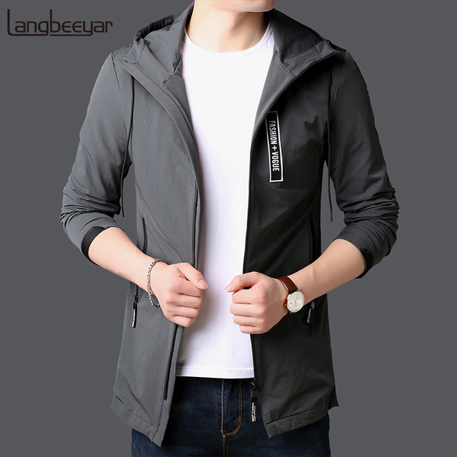 2019 New Fashion Jackets For Men Long Japanese Street Fashion Trend Overcoat Slim Fit Windbreakers Casual Coat Mens Clothing