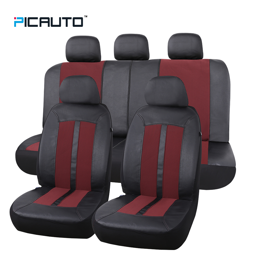 PIC AUTO Car Seat Covers Full Set Universal Fit Cars Premium Level Leather & Jacquard Textured Fabric With Airbag Compatible NEW