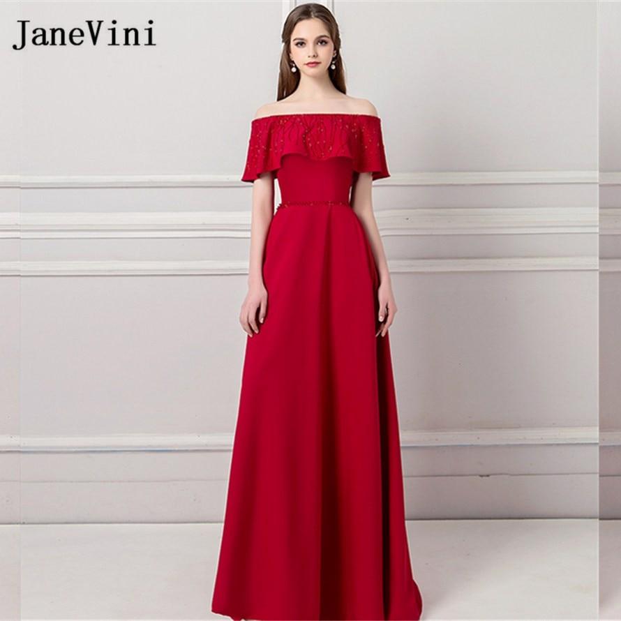 JaneVini Elegant Off Shoulder Women Wedding Party Dress Beading Burgundy Sisters Prom Dress Formal Gown Long Bridesmaids Dresses
