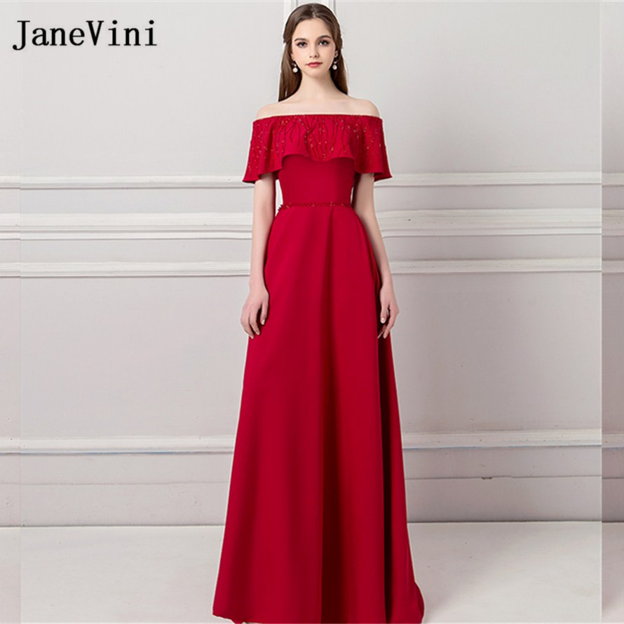 JaneVini Elegant Off Shoulder Women Wedding Party   Dress   Beading Burgundy Sisters Prom   Dress   Formal Gown Long   Bridesmaids     Dresses
