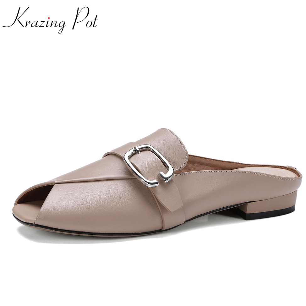 Krazing pot 2018 new arrival full grain leather low heel peep toe metal buckle slip on mules party airy causal pump shoes L82