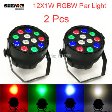 2 Pcs Mini LED 12x1W Flat Par Light LED Wash Light Perfect Effect Light For DJ Disco Party Lighting DMX 512 Control 8 Channels