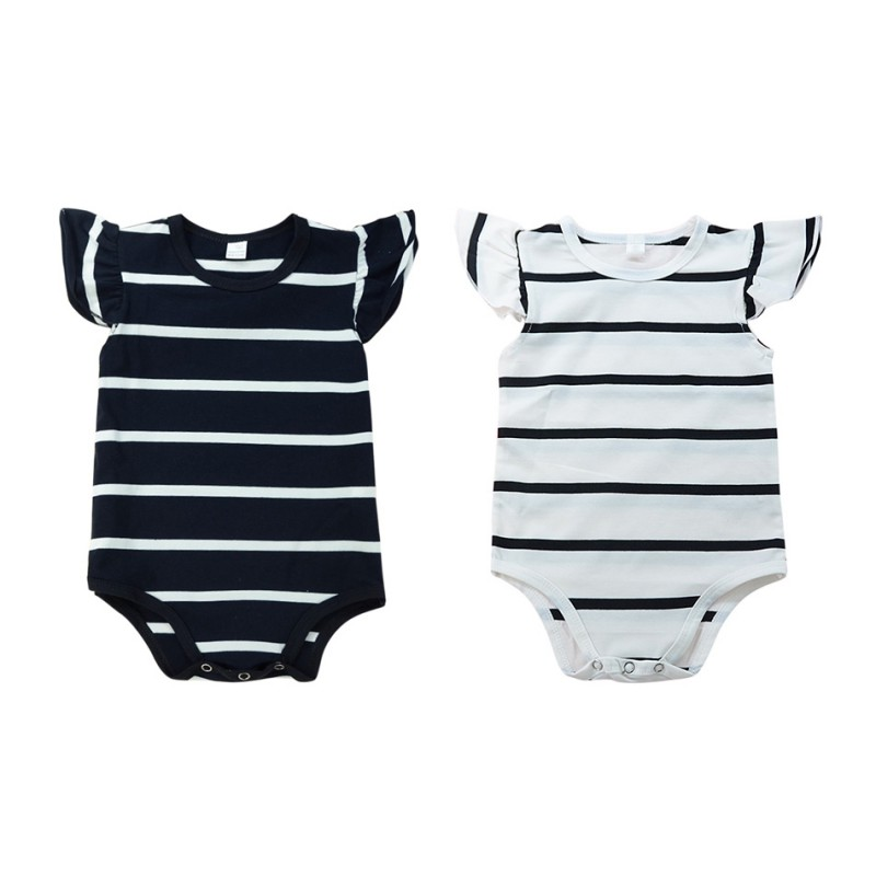 Toddler Baby Boy Girls Summer Striped Printed Bodysuit Jumpsuit Outfits Clothes Comfortable For Dresssing