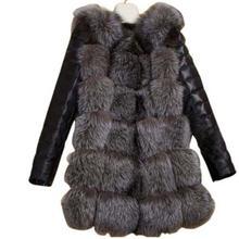 Роскошное пальто из искусственной кожи с лисьим мехом, модная зимняя женская куртка с длинным рукавом, теплая Повседневная Верхняя одежда, пальто размера плюс 3XL