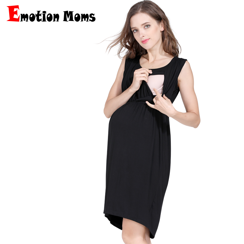 Emotion Moms Maternity Nursing Breastfeeding Dress for Pregnant Women Pregnancy Women's dress Sleeveless Mother Home Clothes graceful sleeveless pointelle solid color dress for women