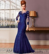 Luxury Royal Blue 2016 Mother of The Bride Dresses With Sleeves Lace Elegant For Wedding Evening Party Gowns Women Formal Dress