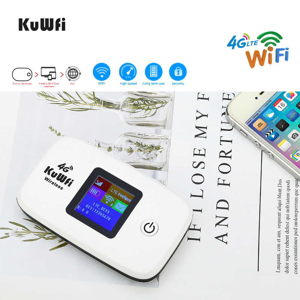 Image 5 - KuWFi Unlocked 4G LTE Wireless Router 150Mbps Outside Travel Wifi Router 3G/4G Mobile WiFi Hotspot Support LTE FDD B1/B3/B5-in 3G/4G Routers from Computer & Office