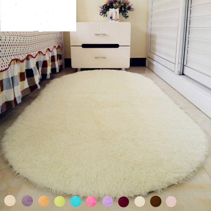12 Colors Solid Color Ellipse Carpet Mat Long Hair Shaggy Soft Area Rug Bedroom Living Room Anti Slip Kids Mat (1pc)