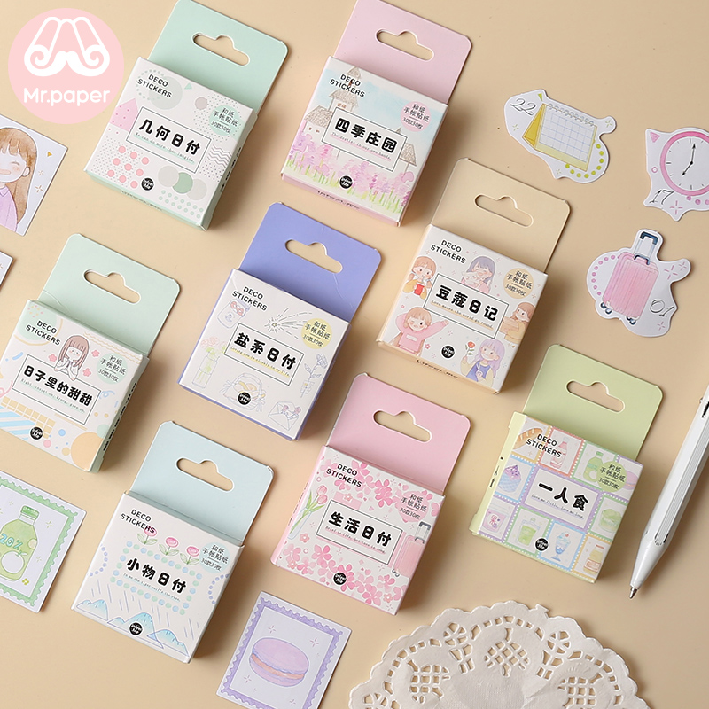 Mr.paper 30Pcs/box Cute Diary Stickers Scrapbooking Planner Date Mark Series Japanese Kawaii Decorative Stationery Stickers