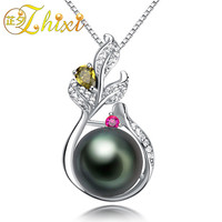 [ZHIXI] Fine Pearl Jewelry 925 Sterling Silver 9 10mm Tahitian Black Pearl Necklace Pendant Natural Stone Pendant For Women TH02