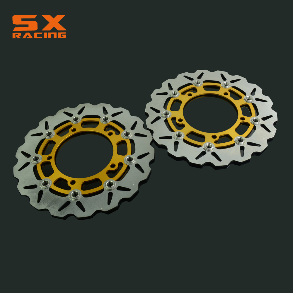 Motorcycle Gold Front Floating Brake Disc Rotor For SV650S ABS 2007-2012  07 08 09 10 11 12 keoghs real adelin 260mm floating brake disc high quality for yamaha scooter cygnus modify