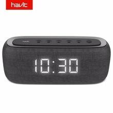 HAVIT Bluetooth Speaker Portable Home Loudspeaker with Digital Alarm Clock 3D Stereo Enhanced Bass Speaker Support FM Radio M29