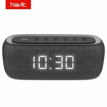 Havit caixa de som portátil, alto falante, bluetooth, com alarme, relógio digital, 3d stereo, graves melhorados, suporte para rádio fm, m29