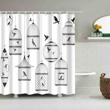 Waterproof Shower Curtain With Hook Black White Bird Cage Bathroom Curtains High Quality Bath Bathing Sheer