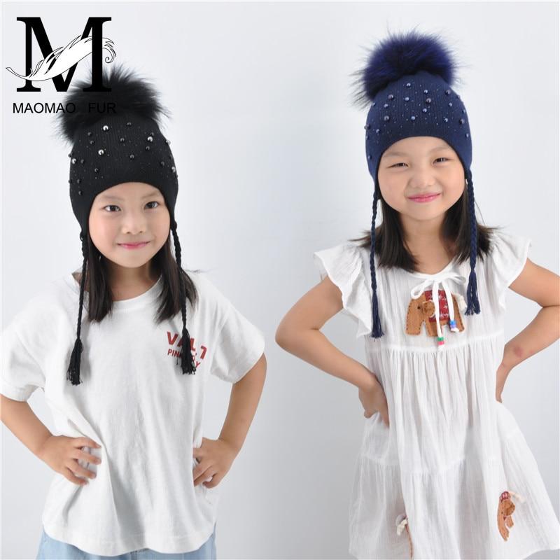 Women Girl Kids Boy Cashmere Hat Soft Warm Hat Cap Beanie With Large Fur Ball