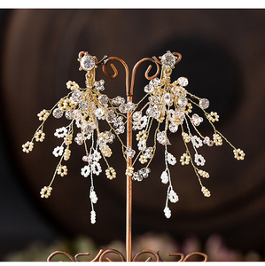 Image 3 - HIMSTORY European Gold Brides Tiaras Crowns Handmade Leaf Crystal Headpieces Wedding Headbands Accessory Holiday Hair Jewelry