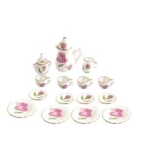 Image 3 - Creative Ceramic Mini Tea Set Green Flower Pattern Porcelain Ceramic Tea Set Kids Toy Mini Kitchen Toy for Kids Adults 15pcs