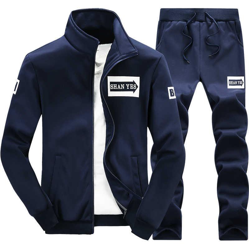 2019 yeni bahar eşofman erkekler ter spor seti ceket + pantolon erkek spor Hip Hop kazak erkek Jogger seti için masculino takım