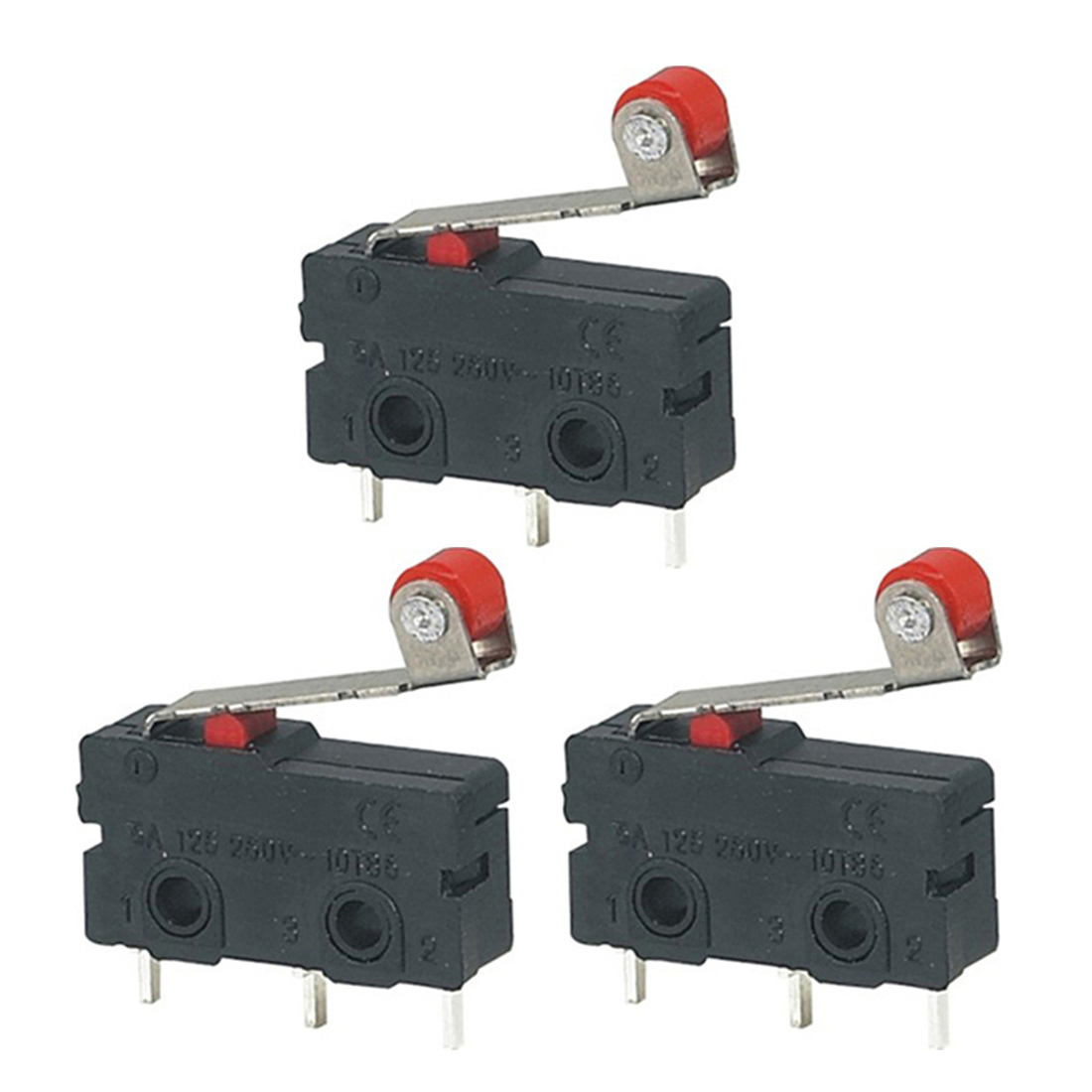 10Pcs//Set Micro Roller Lever Arm Open Close Limit Switch KW12-3 PCB Microswitch