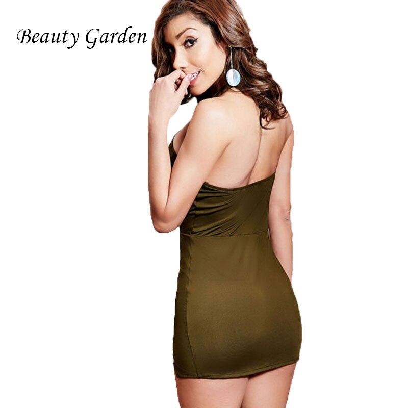 Beauty Garden Solidna Letnia Sukienka Damska Split Backless Halter - Ubrania Damskie - Zdjęcie 3