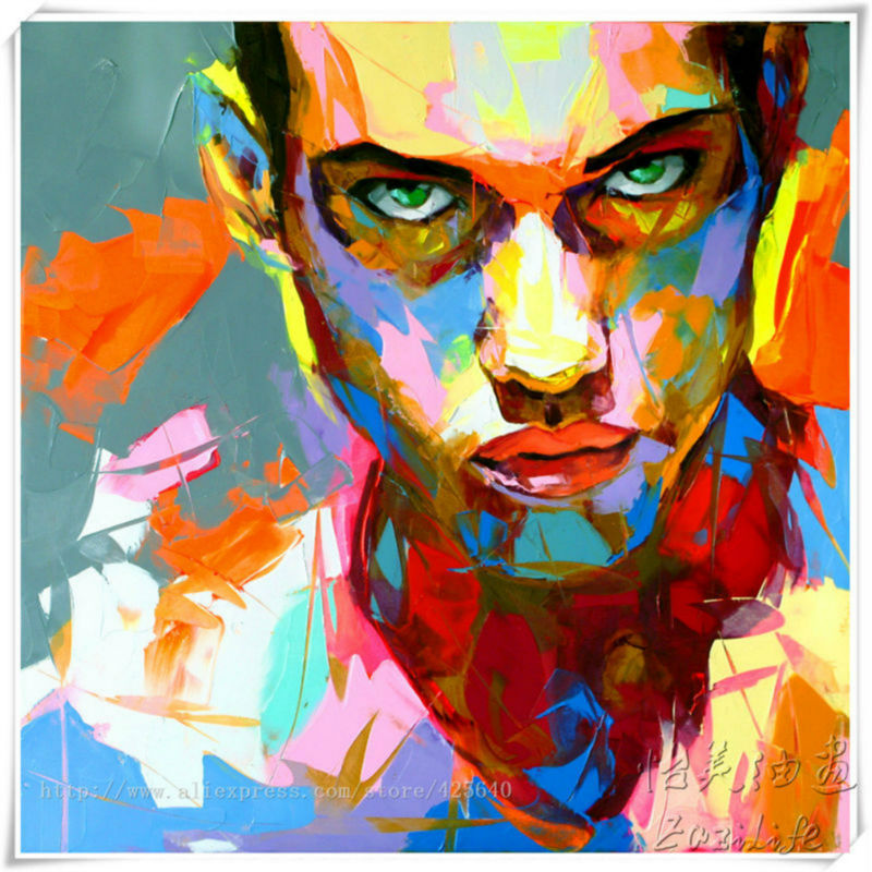 Francoise Nielly Canvas Painting Portrait Palette Knife Face Oil Impasto Figure Wall Art Pictures For Living Room In Calligraphy