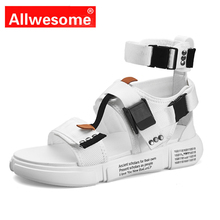 New 2019 Mens Shoes Sandals High Top Gladiator Open Toe  Platform Beach Summer Canvas Sandaly
