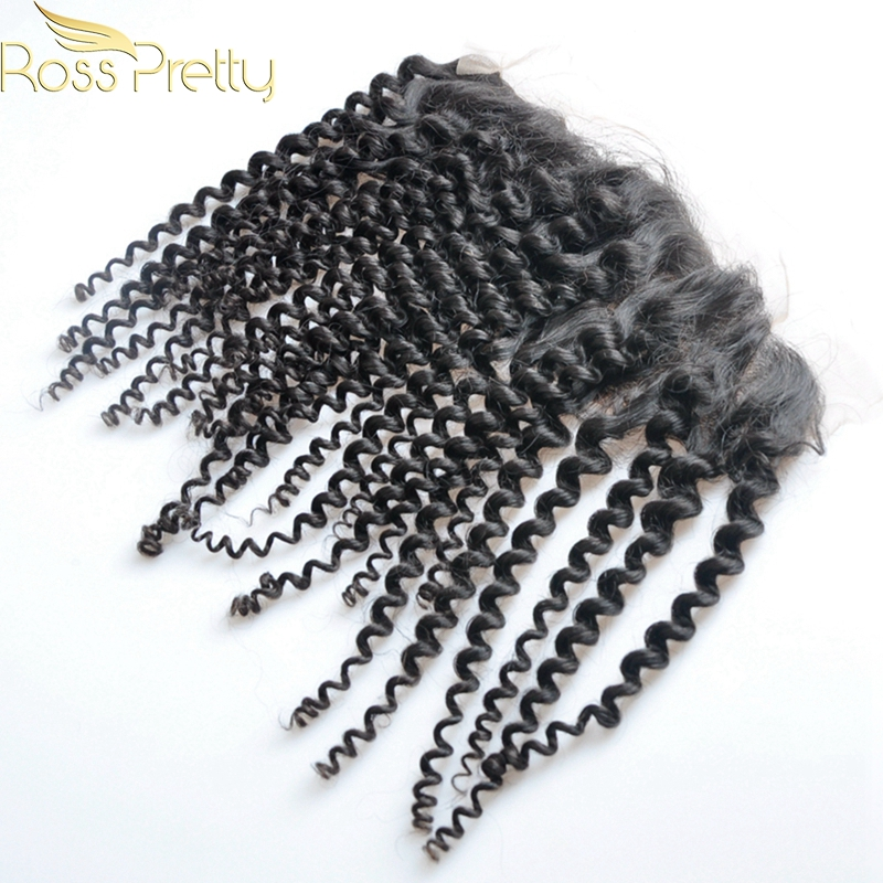 Quality Ross Pretty Hair Brazilian Remy Hair Kinky Curly Lace Frontal Ear to Ear Human Hair 13x4 Lace Closure Wholesale