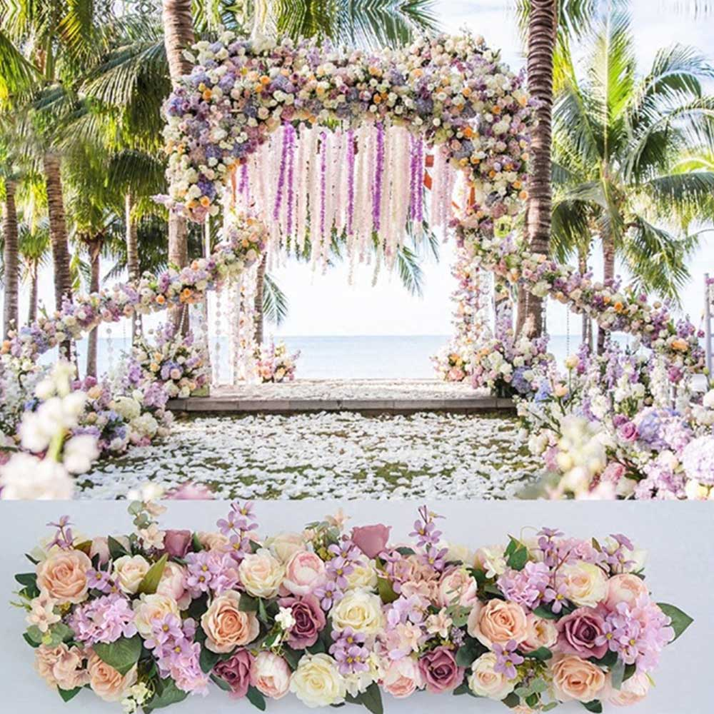 100*25*16 cm fleur artificielle mur panneau Rose hortensia mariage toile de fond décoration fête événement hôtel faux fleur mur tapis