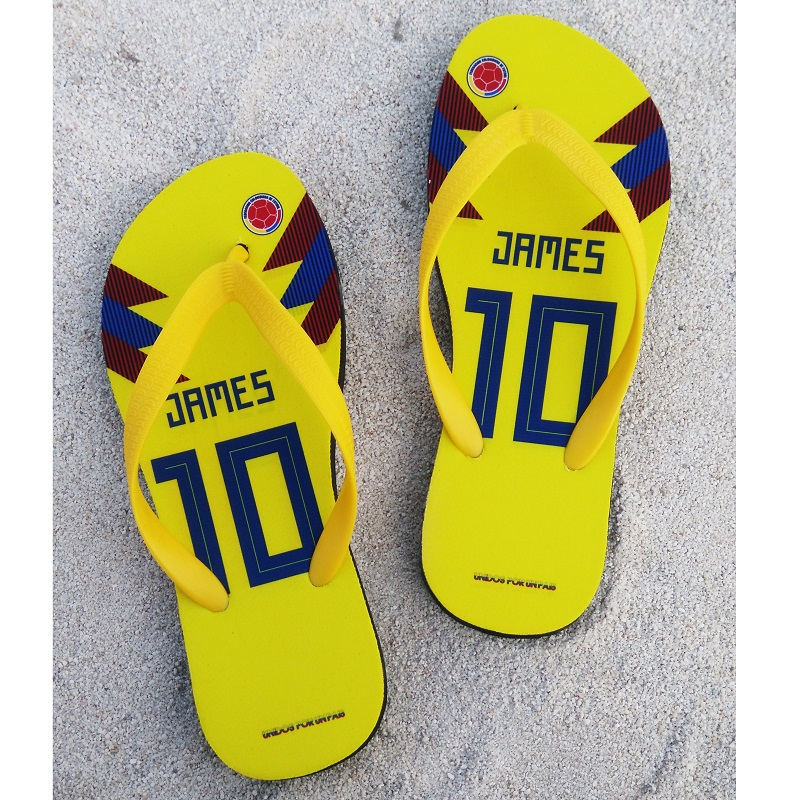 <font><b>Columbia</b></font> National Team Soccer Slipper James Any Name Flip Flops Fans World Cup Russia 2018 Beach <font><b>Shoes</b></font>