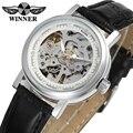 Элегантные женские наручные часы Winner  часы с серебристым циферблатом  корпус из сплава  черный ремешок из натуральной кожи  женские часы ...