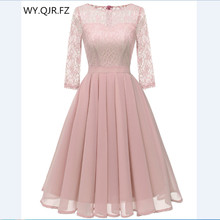 CD 1655F#Chiffon + Lace Pleated short Bridesmaid Dresses Pink wedding party dress gown prom wholesale fashion womens clothing