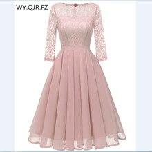 CD 1655F # الشيفون الدانتيل مطوي فساتين وصيفة الشرف قصيرة الوردي فستان حفلات الزفاف ثوب حفلة موسيقية الجملة موضة الملابس النسائية