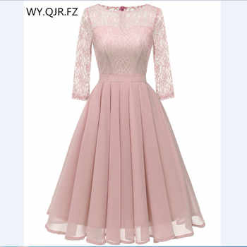 CD1655F#Chiffon + Lace Pleated short Bridesmaid Dresses Pink wedding party dress gown prom wholesale fashion women's clothing - DISCOUNT ITEM  10% OFF All Category