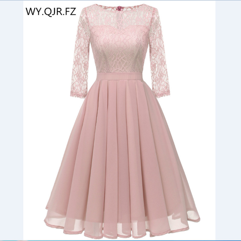 CD1655F#Chiffon + Lace Pleated short   Bridesmaid     Dresses   Pink wedding party   dress   gown prom wholesale fashion women's clothing