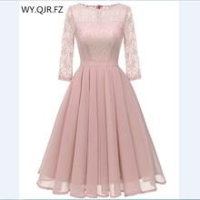 CD1655F#Chiffon + Lace Pleated short Bridesmaid Dresses Pink